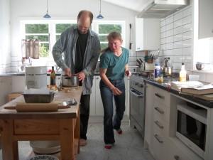 Doing a little team cooking dance.