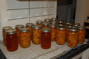 Almost done...just a few more jars in the canner.